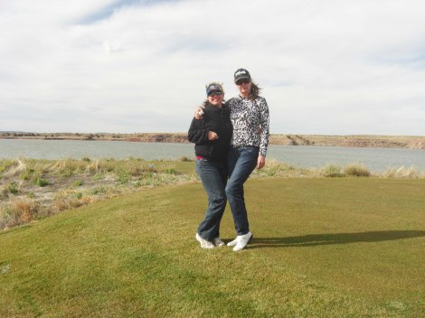 Bunny and Glena at the 12 Shores Golf Course at Ute Lake, Thanksgiving 2011